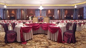 7th Augusti 2016, Kuala Lumpur, Malaysia En funktion för bankettbröllopmatställe Royaltyfri Bild
