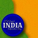 15th av August India Independence Day Hälsningkort med den paisley prydnaden Royaltyfri Fotografi