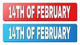 14TH AV den FEBRUARI överskriften på blåa och röda rektangelknappar Royaltyfri Bild