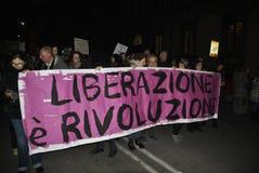 8th av den högra demonstrationen Rome för marschkvinna` s Royaltyfria Foton