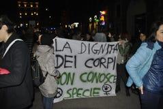 8th av den högra demonstrationen Rome för marschkvinna` s Fotografering för Bildbyråer
