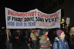 8th av den högra demonstrationen Rome för marschkvinna` s Royaltyfri Fotografi