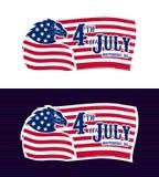 4th av den Juli Eagle USA flaggan stock illustrationer