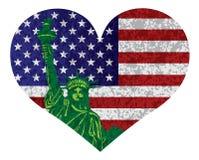 4th av den Juli hjärtaflaggan och statyn av Liberty Vector Illustration stock illustrationer