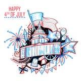 4th av den Juli självständighetsdagen av Amerika bakgrund Arkivbilder