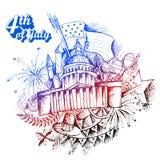 4th av den Juli självständighetsdagen av Amerika bakgrund Royaltyfri Fotografi