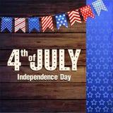 4th av den Juli självständighetsdagen av Amerikas förenta stater Affisch baner Arkivbilder