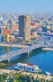 6th av den Oktober bron, Kairo, Egypten Fotografering för Bildbyråer