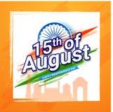15th av det August Indian Independence Day begreppet med Indien port a royaltyfri illustrationer