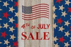 4th av det Juli försäljningsmeddelandet Royaltyfri Foto