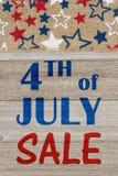 4th av det Juli försäljningsmeddelandet Arkivbilder