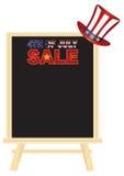 4th av det Juli SALE teckenbrädet med hattvektorillustrationen stock illustrationer