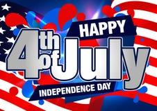 4th av det Juli vektorkortet eller banret med USA flaggan Royaltyfri Foto
