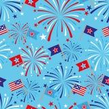 4th av Juli den sömlösa modellen med fyrverkerier och flaggor Arkivbilder
