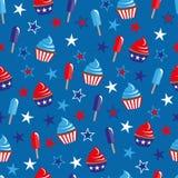 4th av Juli den sömlösa modellen med muffin och glass vektor illustrationer