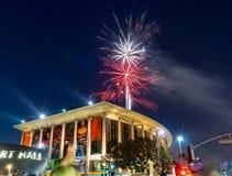 2014 4th av juli fyrverkerier i i stadens centrum Los Angeles Arkivbilder