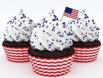 4th av Juli muffin Arkivbild