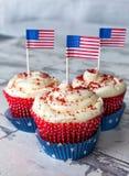 4th av Juli muffin på tappningbakgrund Royaltyfria Foton