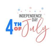 4th av Juli text med den USA flaggan färgar Retro bakgrundsetikett för vektor för självständighetsdagen av USA i juli 4 vektor illustrationer