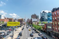 10th avenue. NEW YORK CITY - JUL 22: Traffic on 10th avenue on July 22, 2014 in New York. Tenth Avenue, known as Amsterdam Avenue between 59th Street and 193rd royalty free stock images