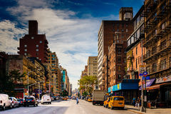 7th Avenue, seen from 23rd Street in Manhattan, New York. Royalty Free Stock Photo