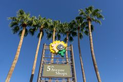 5th Avenue Shops, Downtown Scottsdale, Az. Area with specialty shops, art galleries, boutiques, crafts shops and restaurants stock images