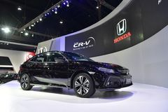 The 38th Bangkok International Thailand Motor Show 2017. NONTHABURI - MARCH 28: Honda Civic Hatchback car on display at The 38th Bangkok International Thailand Royalty Free Stock Photography