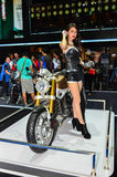 The 37th Bangkok International Thailand Motor Show 2016. NONTHABURI - MARCH 26: Honda motorcycle with unidentified model on display at The 37th Bangkok Royalty Free Stock Photography