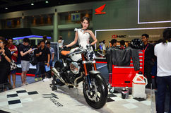 The 37th Bangkok International Thailand Motor Show 2016. NONTHABURI - MARCH 26: Honda motorcycle with unidentified model on display at The 37th Bangkok Royalty Free Stock Images