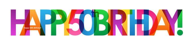 50th banner birthday happy απεικόνιση αποθεμάτων