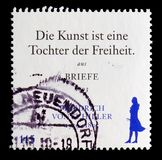 250th Birth Anniversary of Johann Christoph Friedrich von Schiller, serie, circa 2009. MOSCOW, RUSSIA - OCTOBER 21, 2017: A stamp printed in German Federal Royalty Free Stock Photography