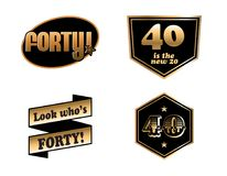 40th birthday badges. Cartoon vector of a 40th birthday badges stock illustration