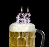 66th Birthday beer in mug Royalty Free Stock Image