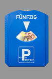 50th birthday card. Birthday card for 50th birthday with the German word for fifty and 50 Euro bank note Stock Image