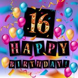 16th Birthday celebration with color balloons. And colorful confetti, glitters. 3d Illustration design for your greeting card, birthday invitation and Royalty Free Stock Photo