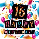 16th Birthday celebration with color balloons. And colorful confetti, glitters. 3d Illustration design for your greeting card, birthday invitation and Royalty Free Stock Photos