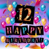12th Birthday celebration with color balloons. And colorful confetti, glitters. Vector Illustration design for your greeting card, birthday invitation and Stock Photos