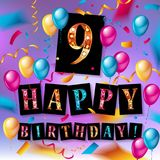 9th Birthday Celebration greeting card Design. With confetti and balloons. Vector elements for the celebration party of two years anniversary Stock Images