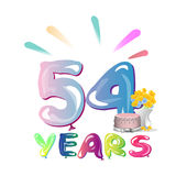 54 th birthday celebration greeting card Royalty Free Stock Image