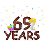 69 th birthday celebration greeting card. Vector illustration Vector Illustration