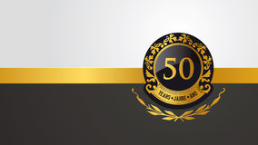 50th birthday, jubilee or anniversary pictogramm. Golden festive vector pictogram for 50th anniversary, jubilee or birthday Royalty Free Stock Image
