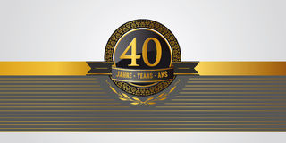 40th birthday, jubilee, anniversary pictogramm. Golden festive vector pictogram for 40th anniversary, jubilee or birthday stock illustration