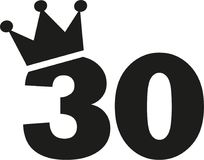 30th Birthday number crown. Vector Stock Image