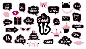 16th birthday photobooth props set for sixteen. Photobooth props set for sweet sixteen 16 birthday. Happy birthday party. Funny phrases, glasses, lips, crown Royalty Free Illustration
