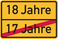 18th birthday - roadsign german. Vector royalty free illustration