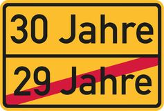 30th birthday - roadsign german. Vector Stock Images