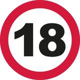18th Birthday - traffic sign. Vector Stock Images