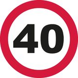 40th Birthday - traffic sign. Vector stock illustration