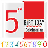 5th birthday, 5 year celebration card with vibrant colors and ribbon Stock Images
