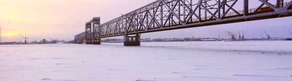 Thе bridge. Arkhangelsk, look at the railway bridge across the Northern Dvina Stock Photos